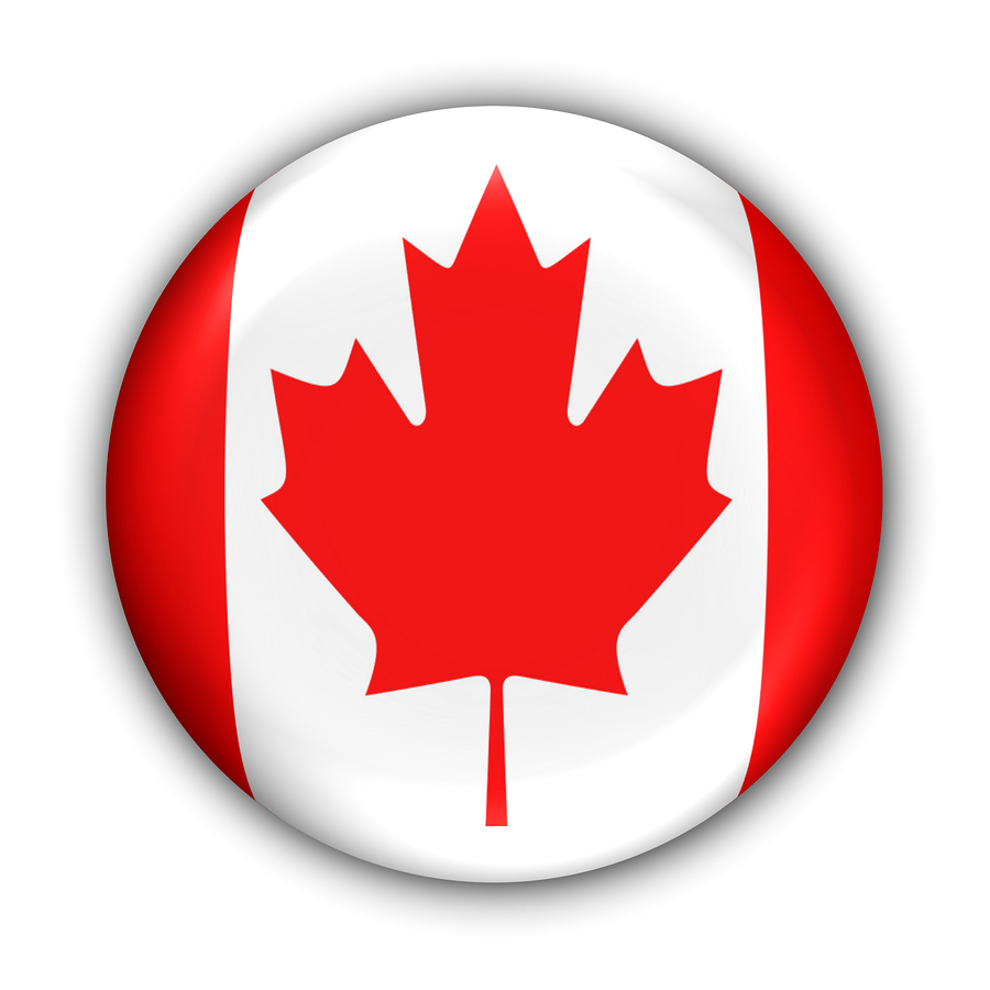 Button of the Canadian Flag